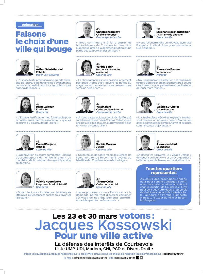 Courbevoie: Liste officielle municipales 2014 UMP, UDI, MODEM, CNI, PCD et DVD