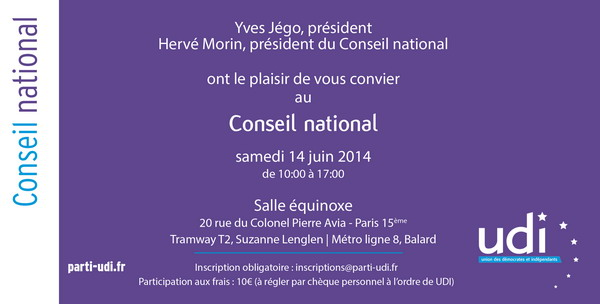 Invitation Conseil National UDI 2014