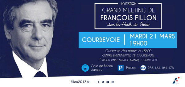 Grand Meeting de François Fillon à Courbevoie ce mardi 21 mars à 19h00