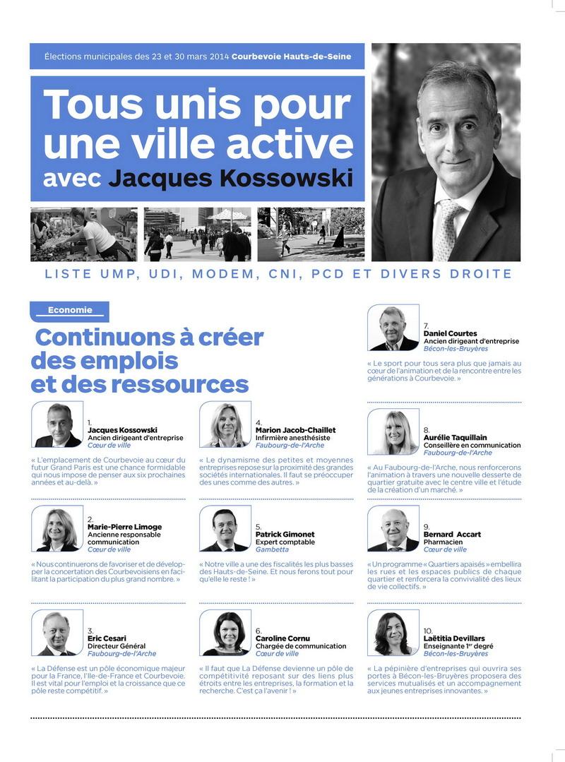 La liste UMP Courbevoie officielle: Tous unis pour une ville active avec Jacques Kossowski