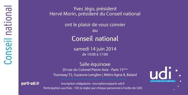 Conseil National UDI ce samedi 14 juin 2014