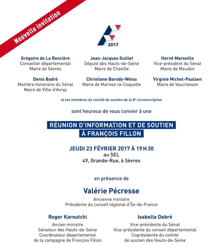 Grande Réunion d'Information et de Soutien à François FILLON ce jeudi 23 février à Sèvres