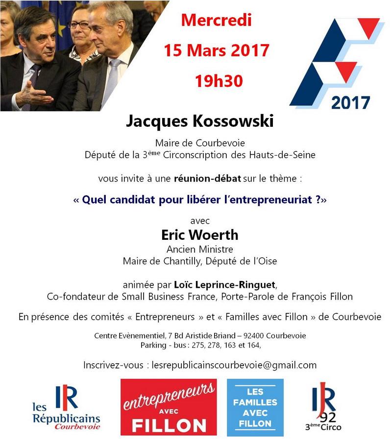 Réunion-débat sur l'entrepreneuriat à Courbevoie ce mercredi 15 mars à 19h30