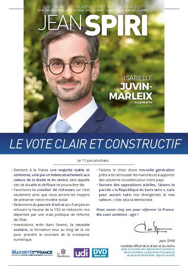 Jean SPIRI et sa supléante Isabelle JUVIN-MARLEIX, le vote clair et constructif