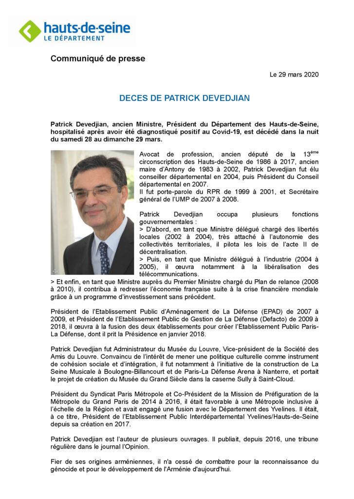 Annonce officielle du décès de Patrick Devedjian par le Département des HDS